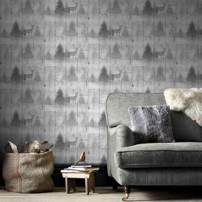 Highland Plank Gray Wallpaper , , large