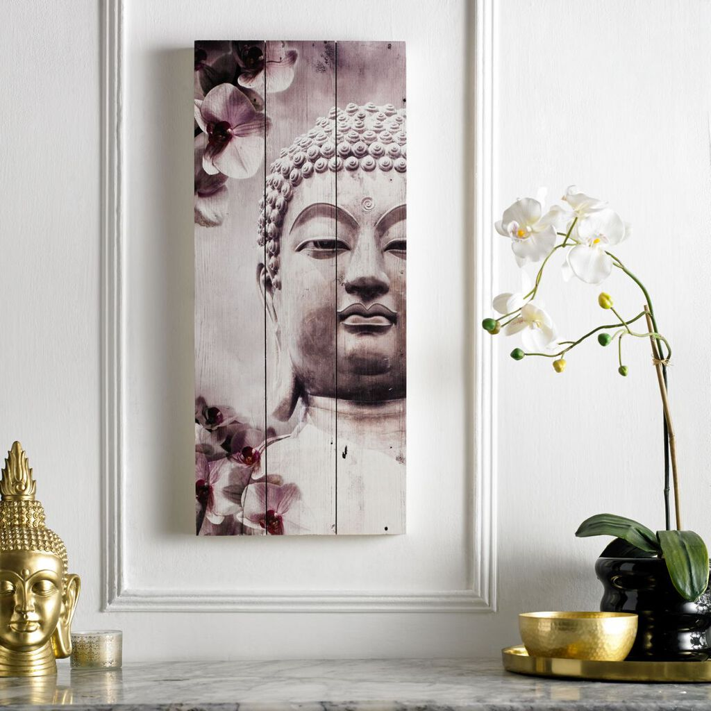 Buddha Print On Wood Wall Art, , large