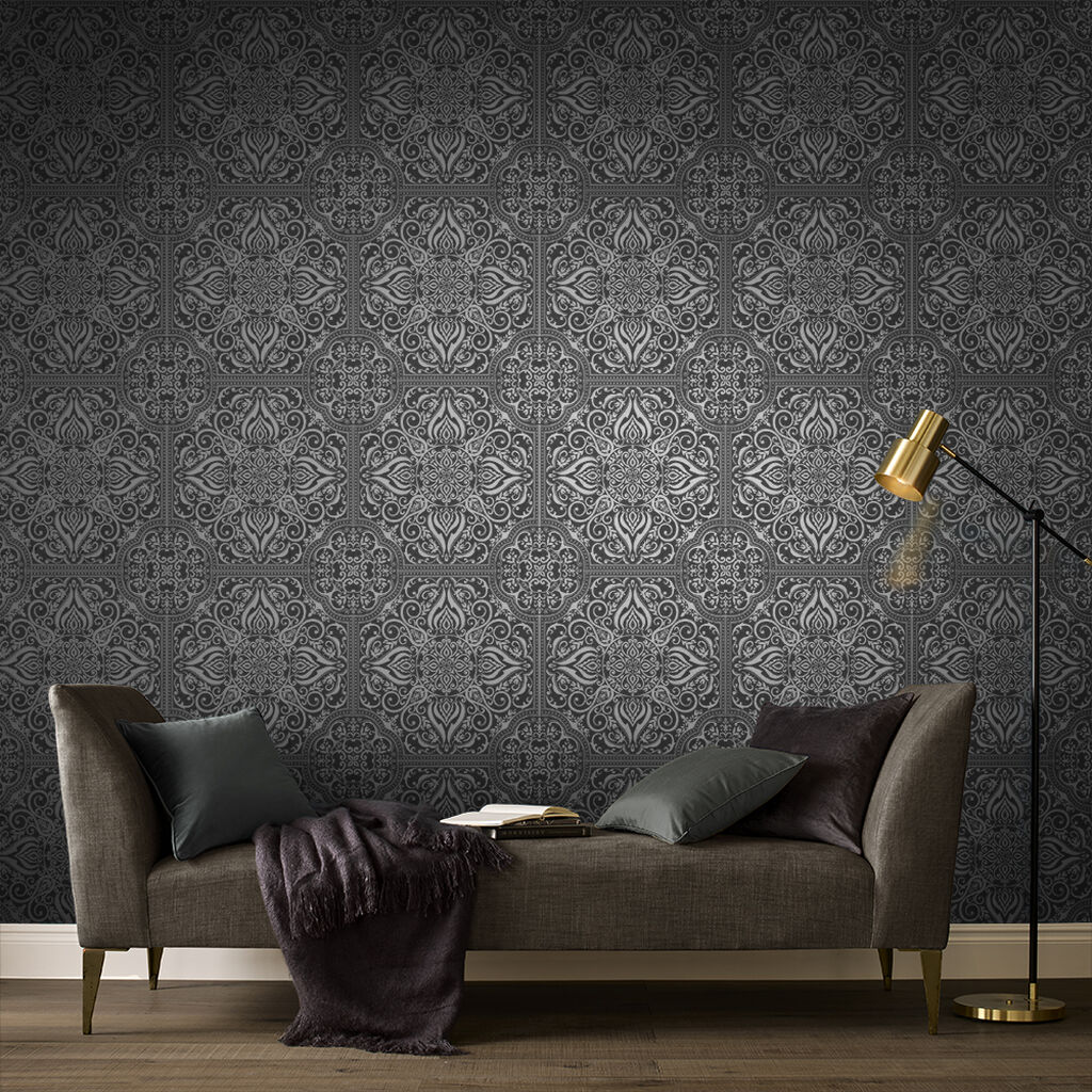 Souk Tile Onyx Wallpaper, , large