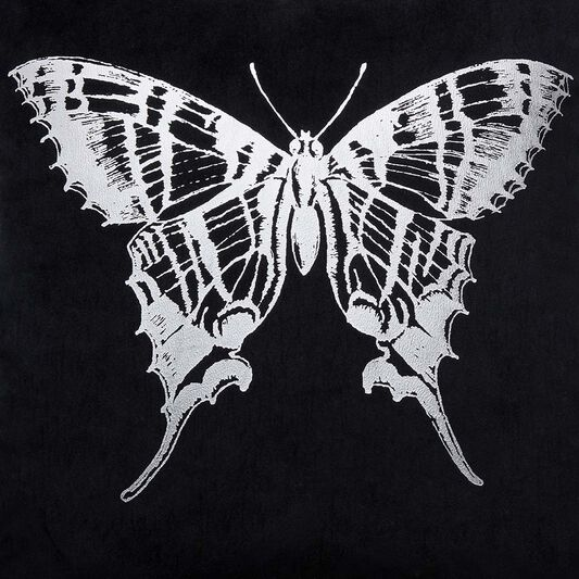Gothic Butterfly Black & Silver Pillow , , large