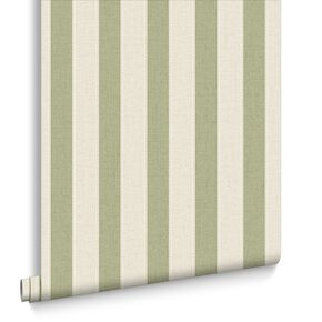 Ticking Stripe Spring Green Wallpaper