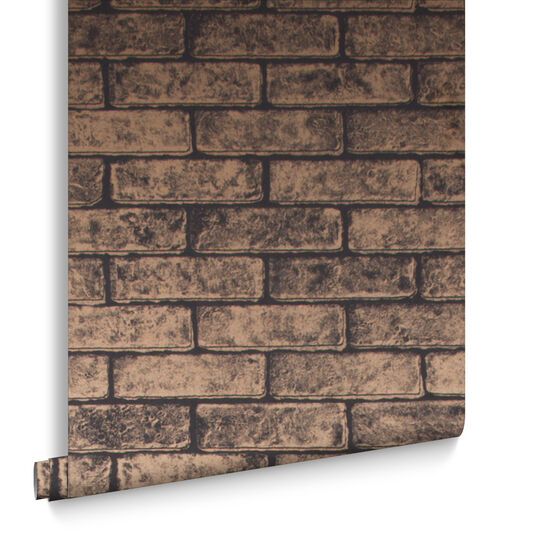Metallic Brick Bronze Black Behang, , large