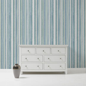 Romany Stripe Teal Wallpaper, , large