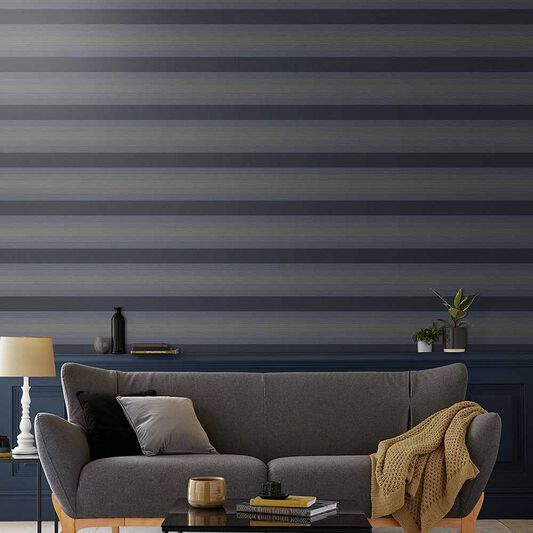 Lagom Stripe Tapete Marineblau & Gold, , large