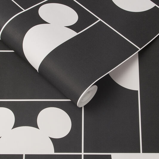 Mickey Mosaic Black Wallpaper, , large