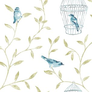 Birds and Cages Teal Wallpaper, , large