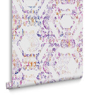 Geo Damask Lilac Wallpaper, , large