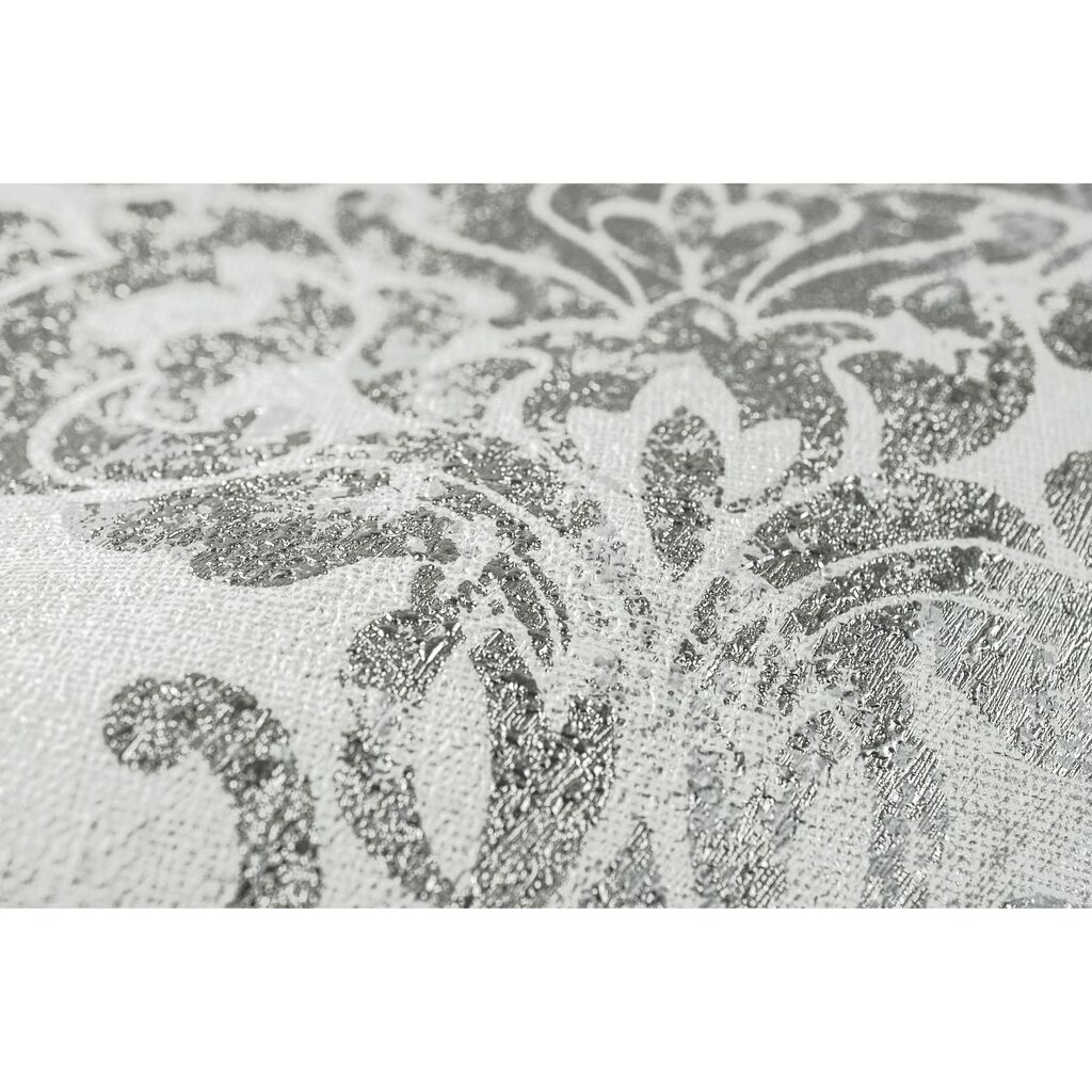 Opal Damask White and Silver Wallpaper, , large