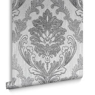 Corsetto Damask Dark Silver Behang, , large
