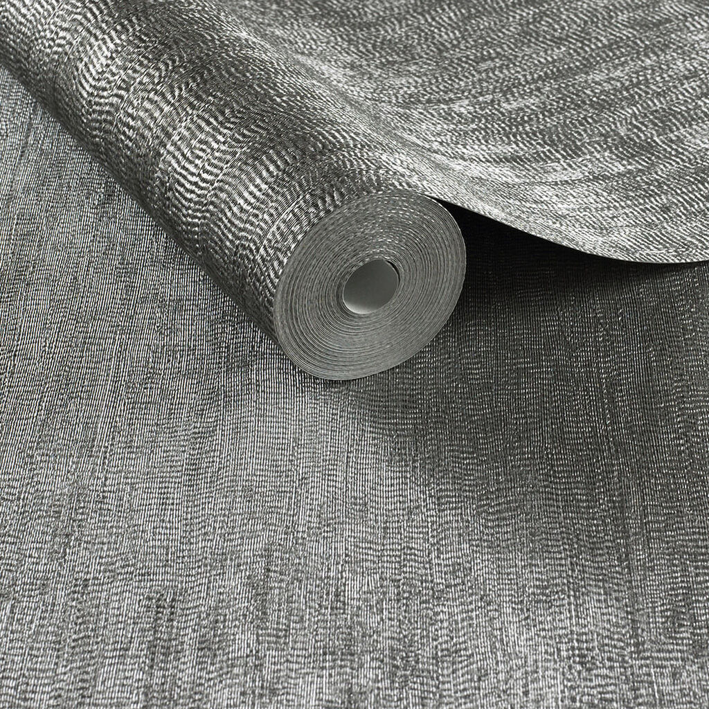 Water Silk Plain Charcoal Wallpaper, , large