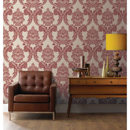 Regent Red Wallpaper | Red Damask Wallpaper | Vinyl