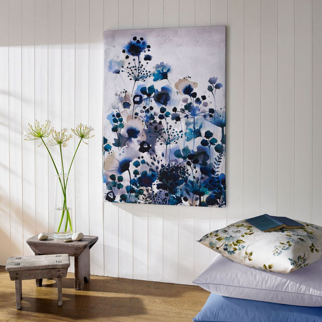 Moody Blue Watercolour Printed Canvas Wall Art, , large