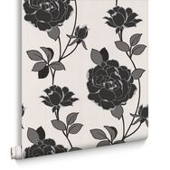 Rosey Black and White Wallpaper, , large