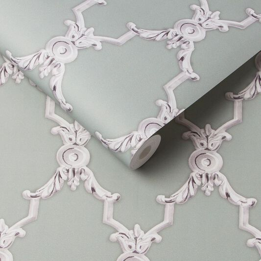 Boulevardia Green and White Wallpaper, , large