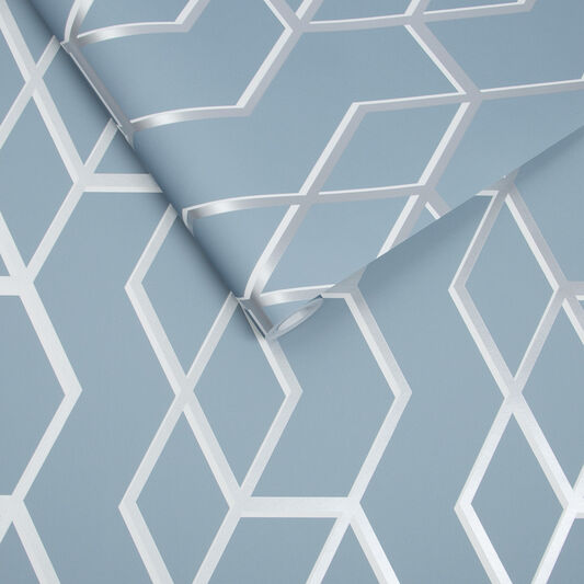 Archetype Blue & Silver Wallpaper, , large