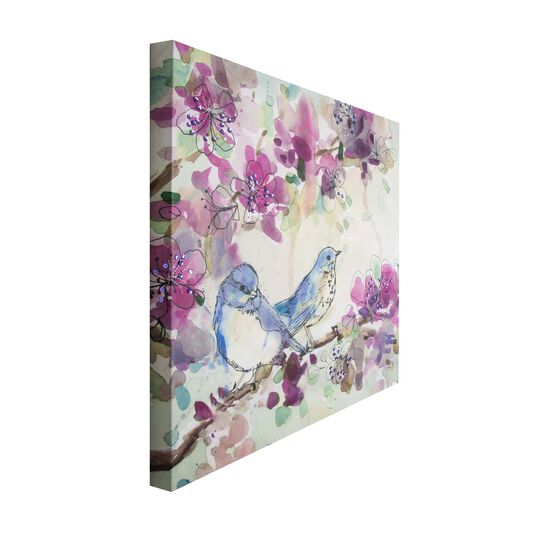 Stitched Spring Birds Printed Canvas Wall Art, , large