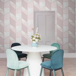 Colour Block Geo Pink Wallpaper, , large