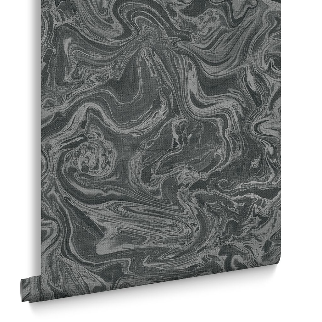 Marbled Black and Grey Wallpaper, , large