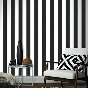 Lynn Stripe Black/White Wallpaper, , large