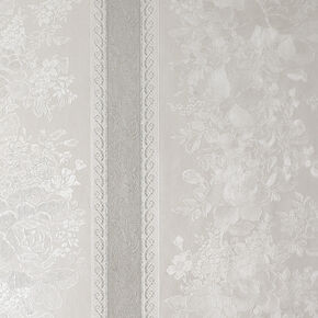 Floral Stripe Silver Mist Behang, , large