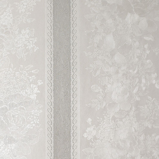Floral Stripe Silver Mist Wallpaper, , large