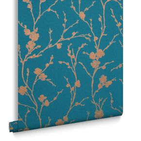 Meiying Teal Wallpaper, , large