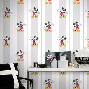 Mickey Pinstripes Classic Wallpaper, , large
