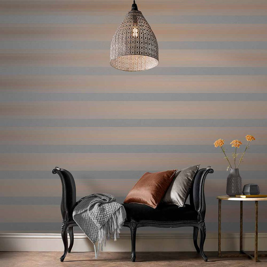 Lagom Stripe Grey & Rose Gold Behang, , large