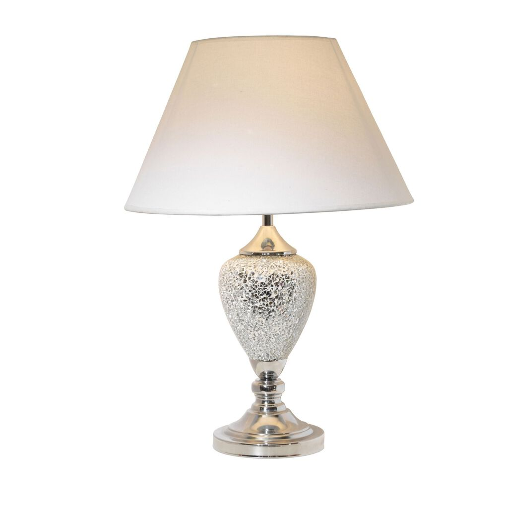 Silver Table Lamp With White Shade, , large