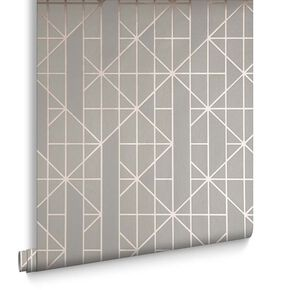 Linear Taupe / Rose Gold Wallpaper, , large