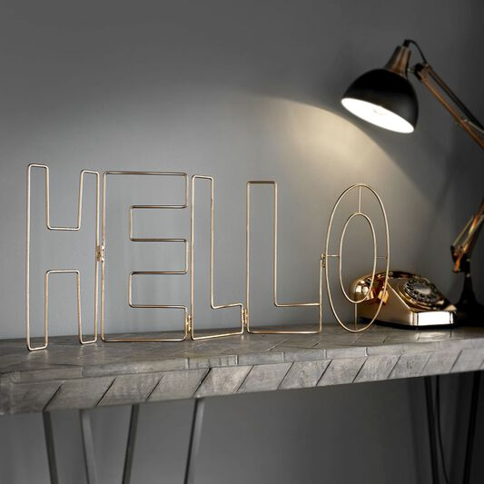 Rose Gold Hello Metal Wall Art, , large
