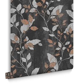 Vermeil Leaf Charcoal & Copper Wallpaper, , large