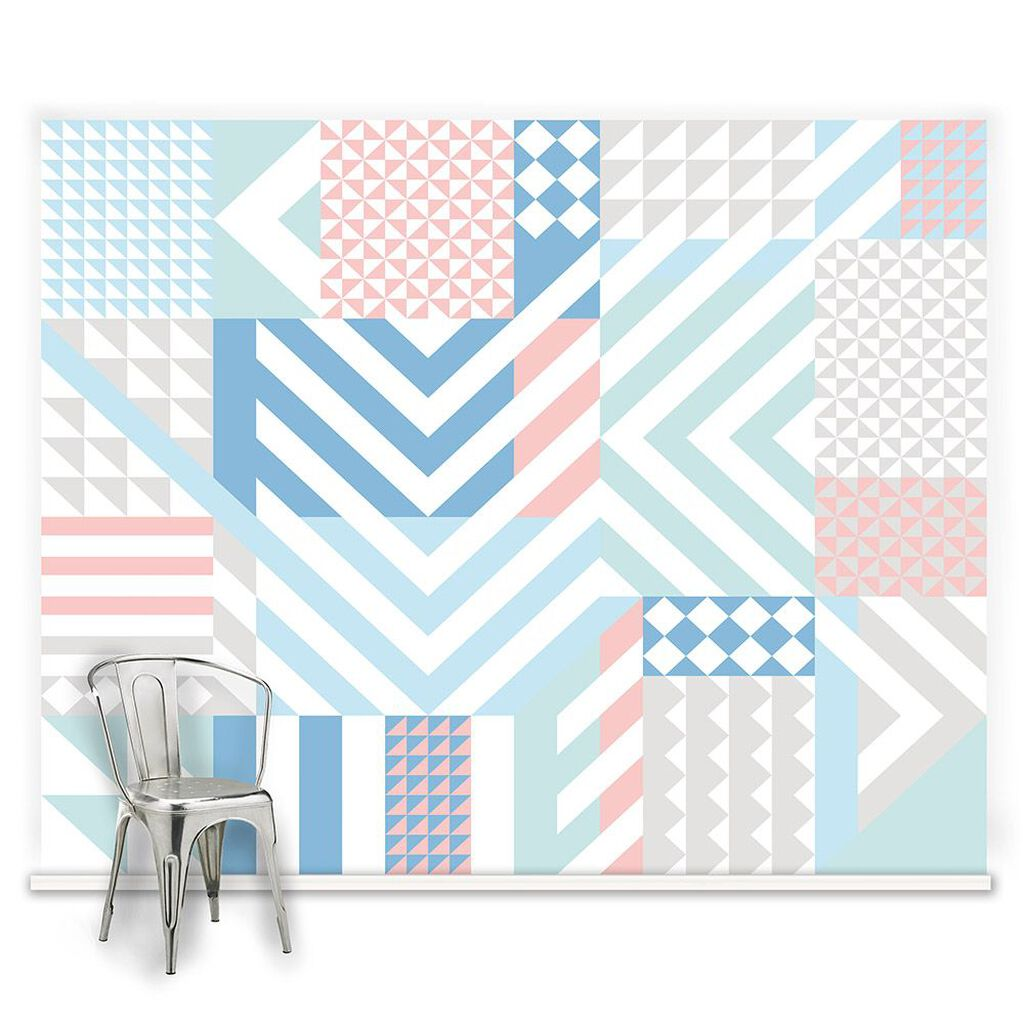 Couture Geoclash Pastels Ready Made Mural, , large