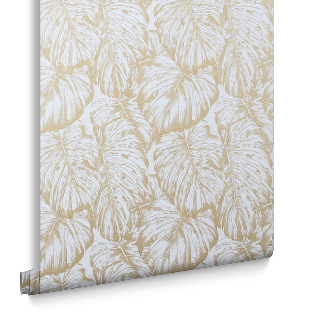 Tropical Pearl & Gold Wallpaper, , large
