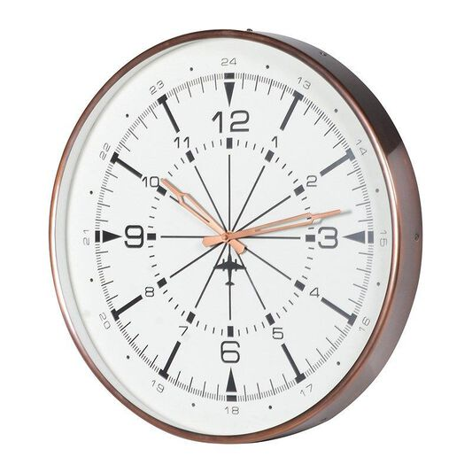 Brushed copper aviation wall clock