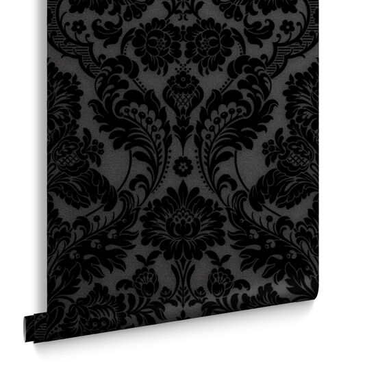 Gothic Damask Noir Wallpaper, , large