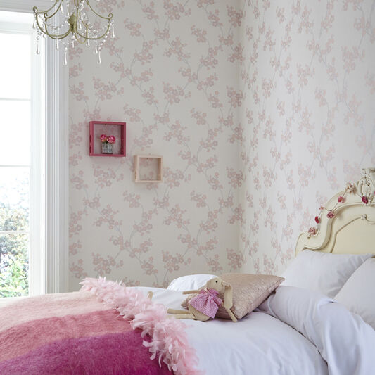 Cherry Blossom Soft Pink Wallpaper, , large