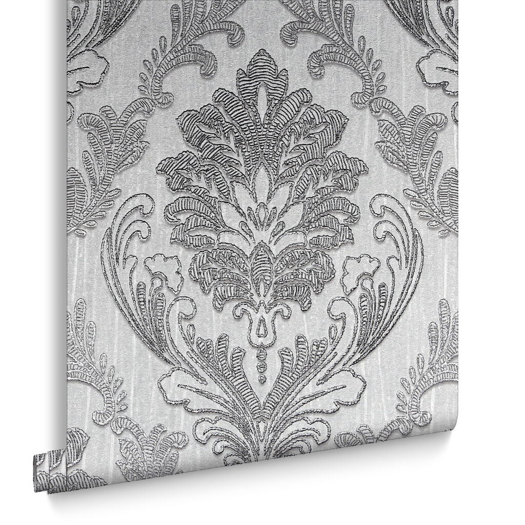 Corsetto Damask Tapete Dunkles Silber, , large