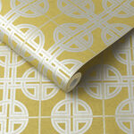 Asian Lattice Saffron Wallpaper