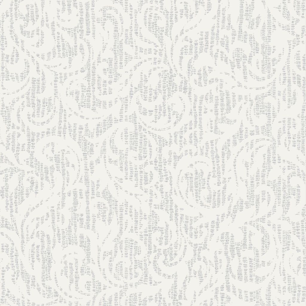 Cashmere White and Silver Wallpaper, , large