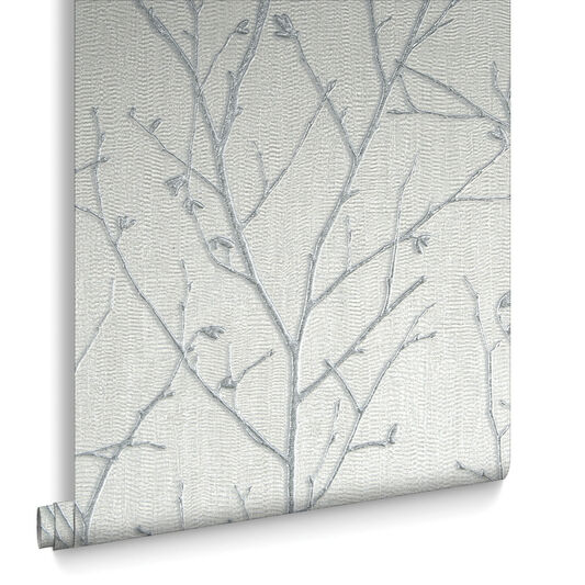 Water Silk Sprig Light Silver Behang, , large