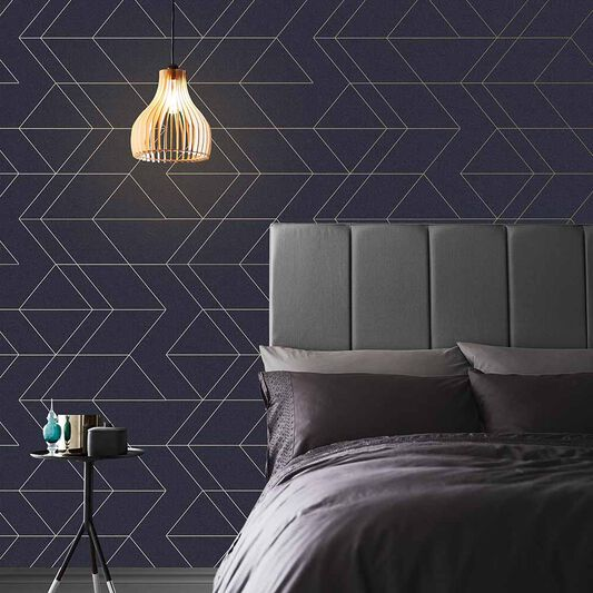 Balance Navy & Gold Wallpaper, , large
