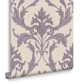 Oxford Cream and Purple Wallpaper, , large