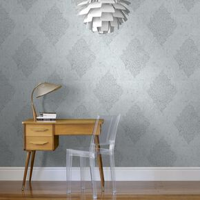 Pale Blue / Silver Cork Medallion Wallpaper, , large