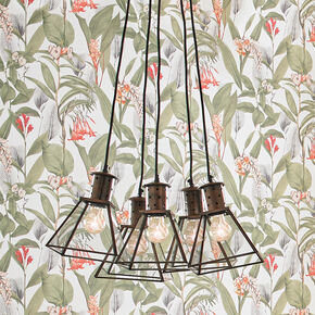 Rustic Metal & Glass Lanterns Ceiling Light, , large