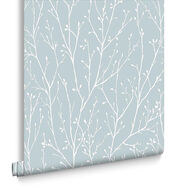Willamena Duck Egg Wallpaper, , large