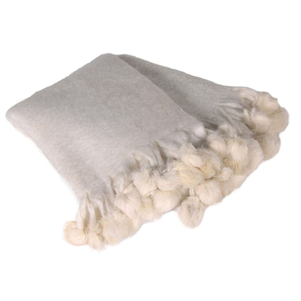 Luxury Wool Pom Pom Throw, , large
