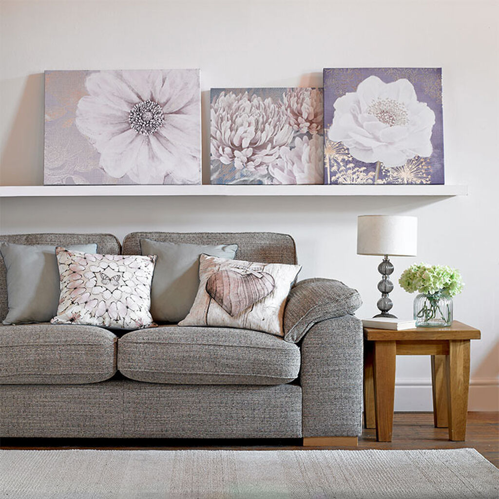 Grey Bloom Printed Canvas Wall Art, , large
