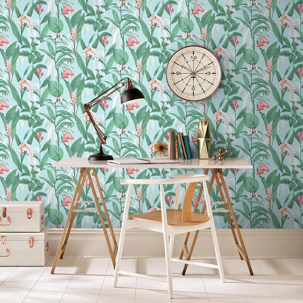 Botanical Duck Egg Wallpaper, , large