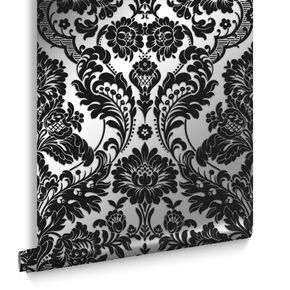 Gothic Damask Flock Black & Silver Wallpaper, , large